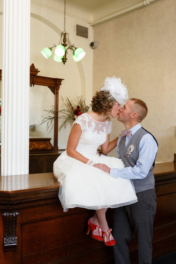 Married Couple Kissing at the St. James Hotel